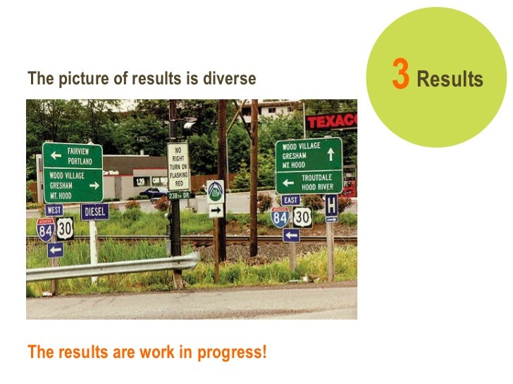The results are work in progress! Results 3   The picture of results is diverse