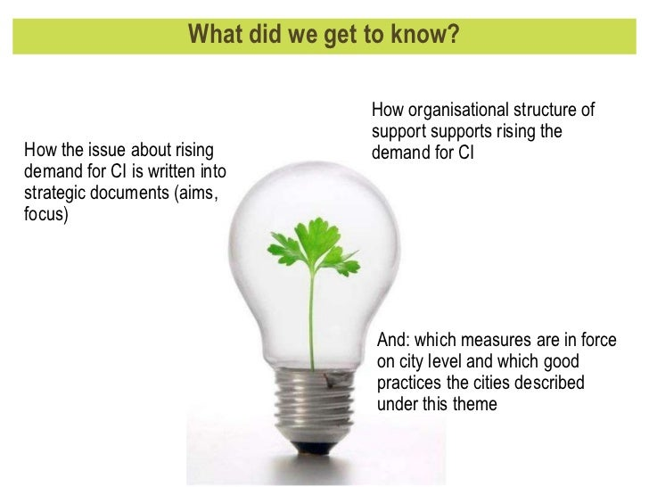 What did we get to know? How the issue about rising demand for CI is written into strategic documents (aims, focus) How or...