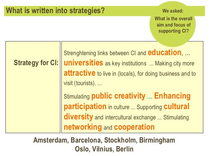 What is written into strategies? Strenghtening links between CI and   education , ...  universities   as key institutions ...