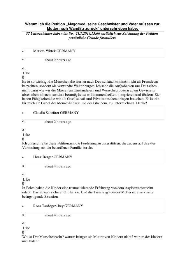 """Warum ich die Petition """"Magomed, seine Geschwister und Vater müssen zur Mutter nach Wandlitz zurück"""" unterschrieben habe: ..."""