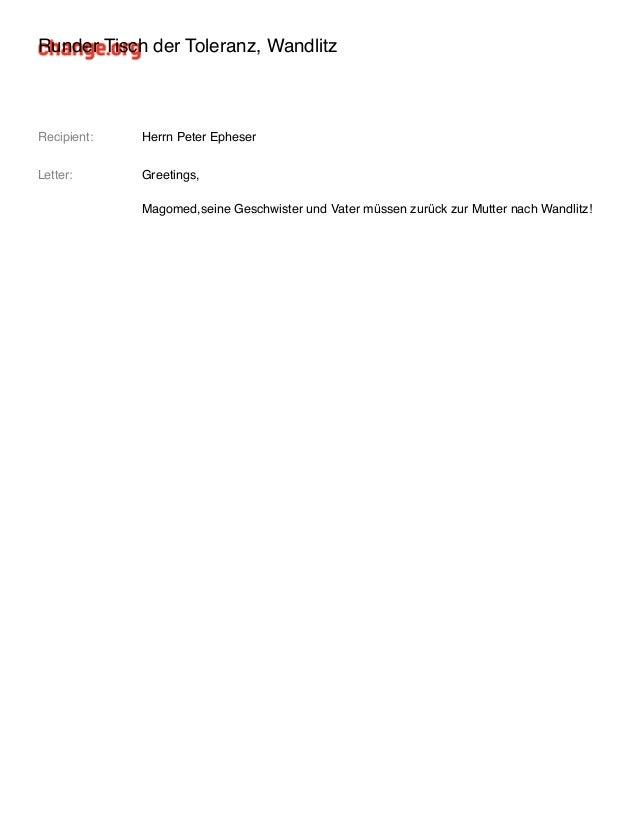 Runder Tisch der Toleranz, Wandlitz Recipient: Herrn Peter Epheser Letter: Greetings, Magomed,seine Geschwister und Vater ...