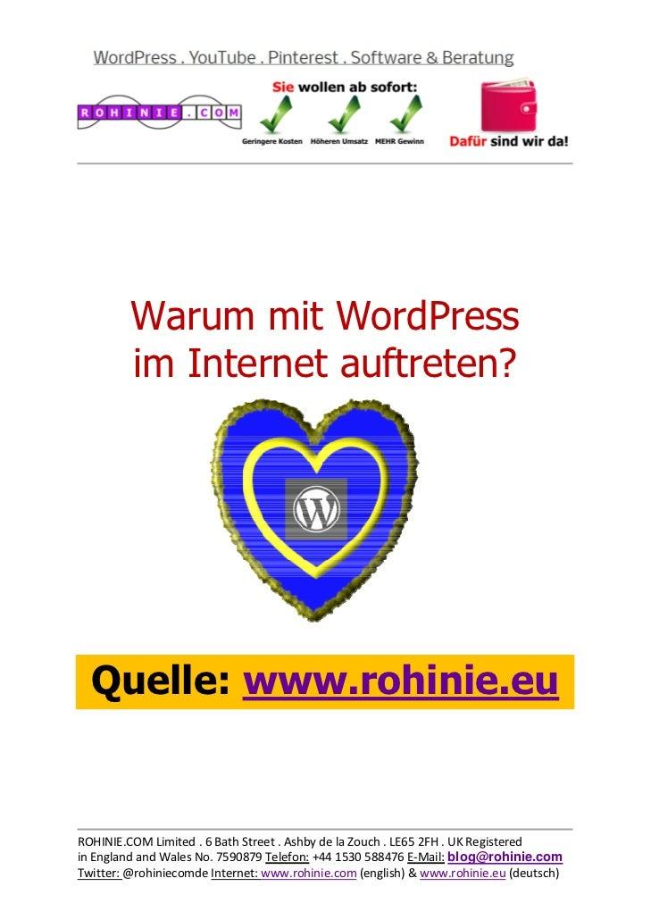 Warum mit WordPress ...
