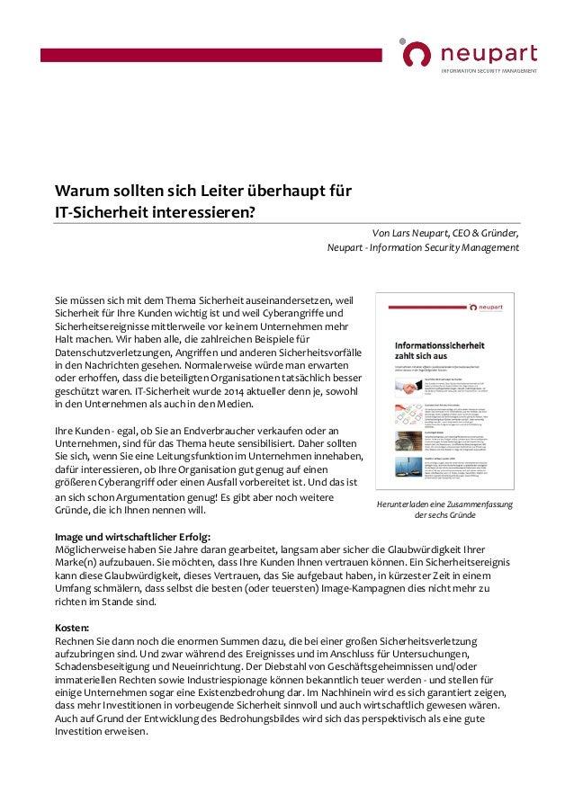 Warum sollten sich Leiter überhaupt für IT-Sicherheit interessieren? Von Lars Neupart, CEO & Gründer, Neupart - Informatio...