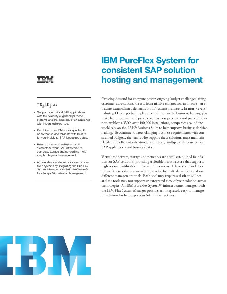 IBM PureFlex System for                                                      consistent SAP solution                      ...