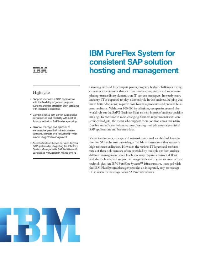 IBM PureFlex System for consistent SAP solution hosting and management