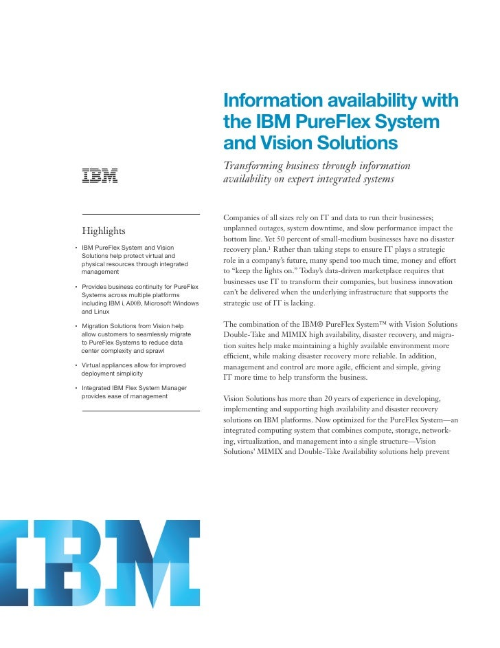 Information availability with                                                     the IBM PureFlex System                 ...