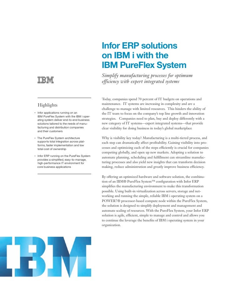 Infor ERP solutions                                                    on IBM i with the                                  ...