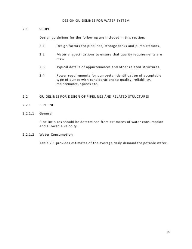9 PART II DESIGN GUIDELINES FOR WATER SYSTEM 15