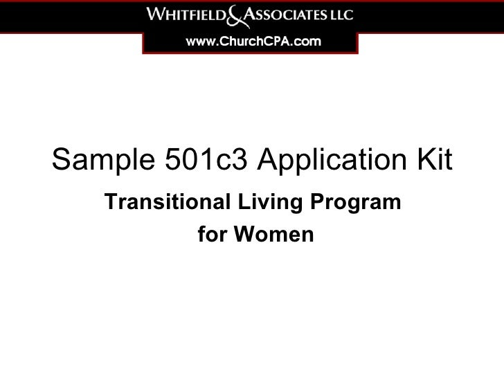 Sample 501c3 Application Kit for Ttransitional Program for