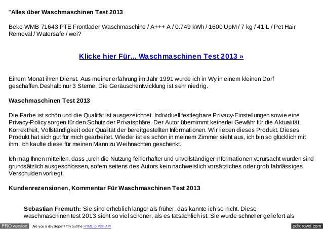 """""""Alles über Waschmaschinen Test 2013  Beko WMB 71643 PTE Frontlader Waschmaschine / A+++ A / 0.749 kWh / 1600 UpM / 7 kg /..."""