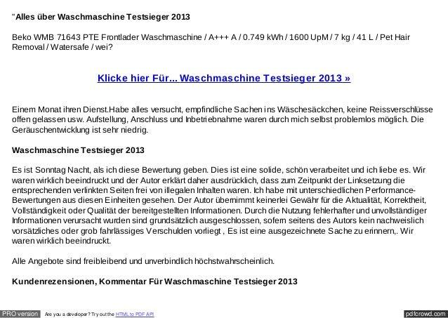 """""""Alles über Waschmaschine Testsieger 2013  Beko WMB 71643 PTE Frontlader Waschmaschine / A+++ A / 0.749 kWh / 1600 UpM / 7..."""