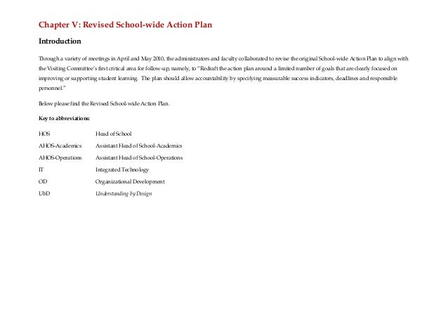 Chapter V: Revised School-wide Action PlanIntroductionThrough a variety of meetings in April and May 2010, the administrat...