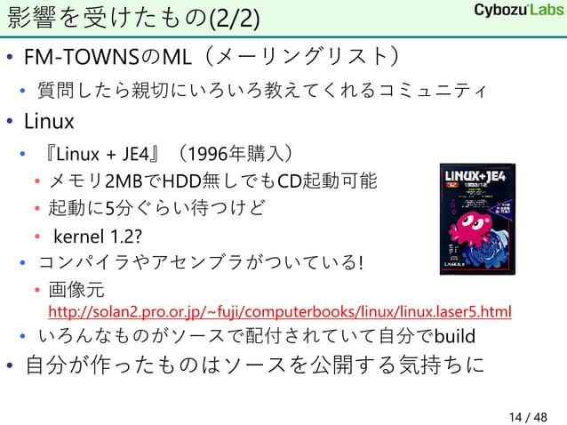 • FM-TOWNSのML(メーリングリスト) • 質問したら親切にいろいろ教えてくれるコミュニティ • Linux • 『Linux + JE4』(1996年購入) • メモリ2MBでHDD無しでもCD起動可能 • 起動に5分ぐらい待つけど ...