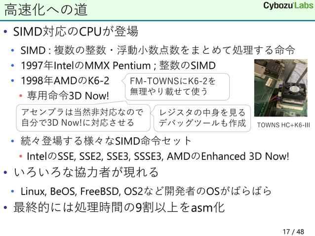 • SIMD対応のCPUが登場 • SIMD : 複数の整数・浮動小数点数をまとめて処理する命令 • 1997年IntelのMMX Pentium ; 整数のSIMD • 1998年AMDのK6-2 • 専用命令3D Now! • 続々登場する...