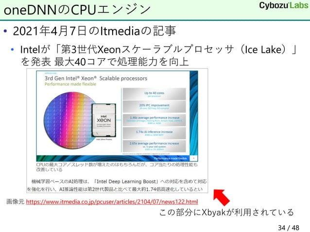 • 2021年4月7日のItmediaの記事 • Intelが「第3世代Xeonスケーラブルプロセッサ(Ice Lake)」 を発表 最大40コアで処理能力を向上 oneDNNのCPUエンジン この部分にXbyakが利用されている 画像元 ht...