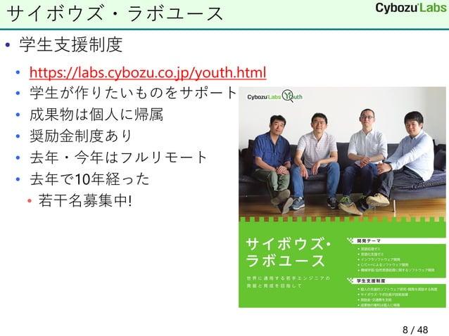 • 学生支援制度 • https://labs.cybozu.co.jp/youth.html • 学生が作りたいものをサポート • 成果物は個人に帰属 • 奨励金制度あり • 去年・今年はフルリモート • 去年で10年経った • 若干名募集中...