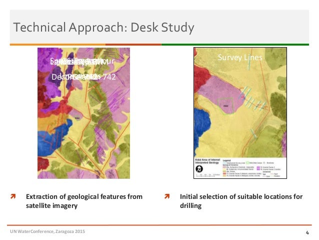 Technical Approach: Desk Study 4  Extraction of geological features from satellite imagery  Initial selection of suitabl...