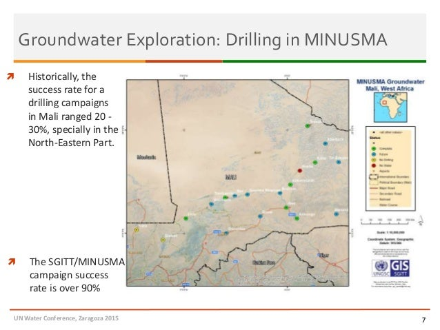 Groundwater Exploration: Drilling in MINUSMA UN Water Conference, Zaragoza 2015 7  Historically, the success rate for a d...