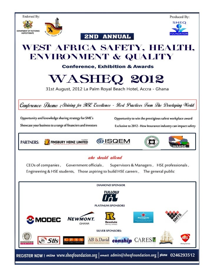 It is with great pleasure that we invite you toparticipate in the 2nd WASHEQ Conference to beheld in Accra, Ghana at the L...
