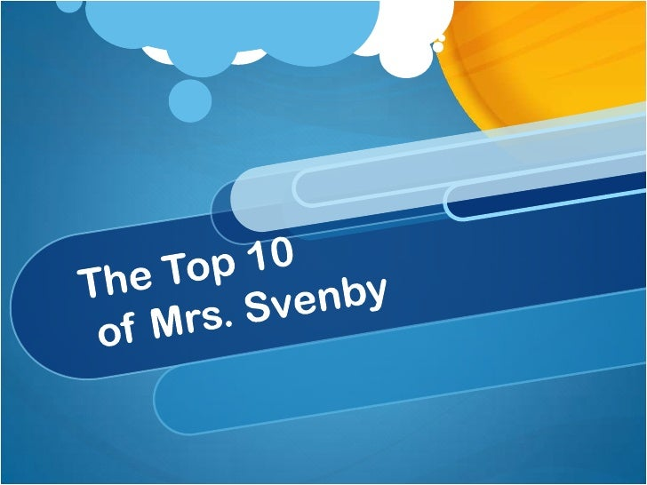 The Top 10 of Mrs. Svenby <br />