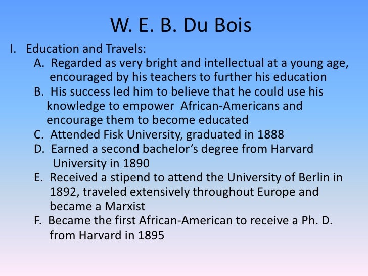 the early life and education of w e b du bois Original illustration (left) created by web du bois showing date about african-americans, and updated version (right) by mona chalabi photograph: mona chalabi wealth.