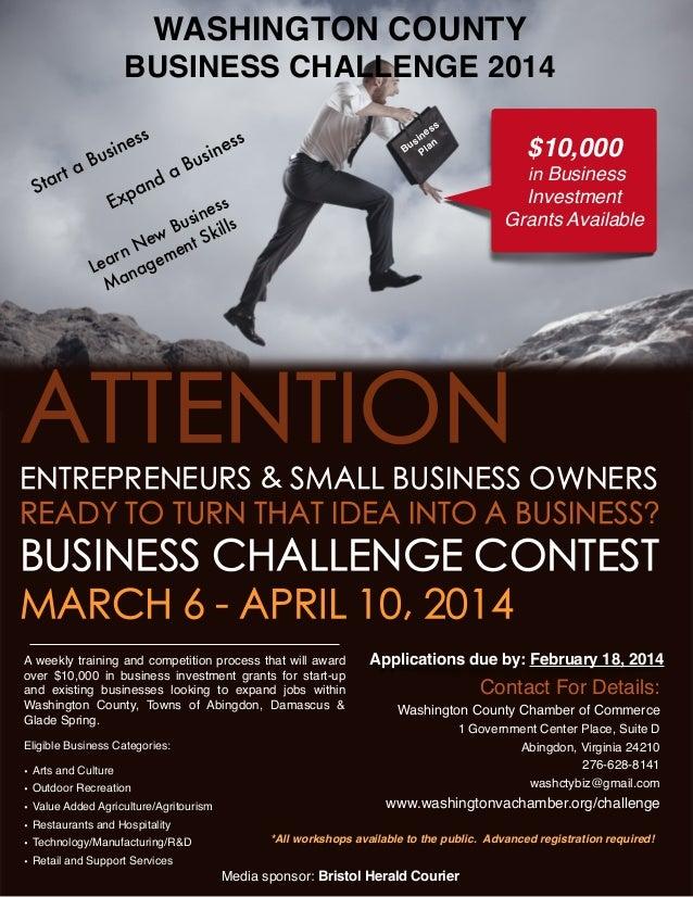 WASHINGTON COUNTY  BUSINESS CHALLENGE 2014 ta tar S  ne usi B  E  ss  nd pa x  a   ss ne si n Bu Pla  s n es si Bu  $10,00...
