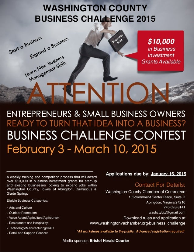 WASHINGTON COUNTY BUSINESS CHALLENGE 2015 *All workshops available to the public. Advanced registration required! Media sp...