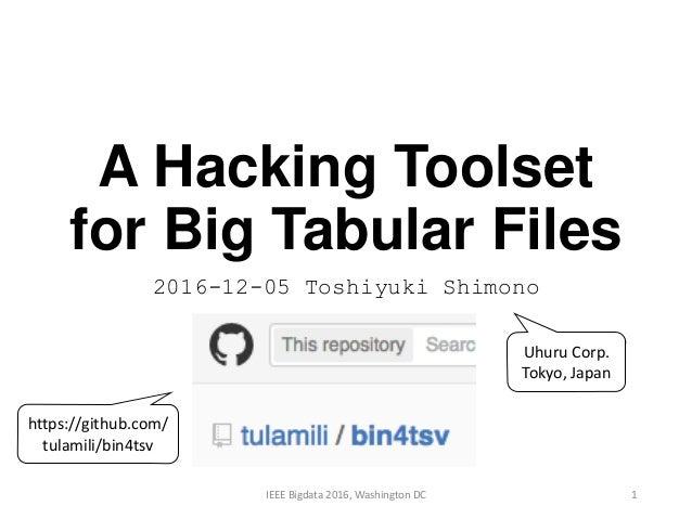 A Hacking Toolset for Big Tabular Files 2016-12-05 Toshiyuki Shimono 1IEEE Bigdata 2016, Washington DC Uhuru Corp. Tokyo, ...