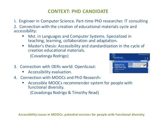 Accessibility issues in MOOCs: potencial services for people with functional diversity Slide 2