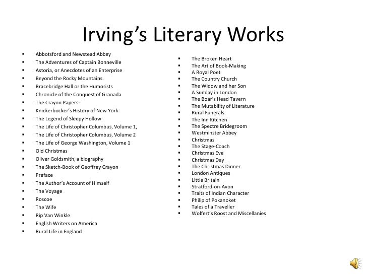 Washington irving and his works essay