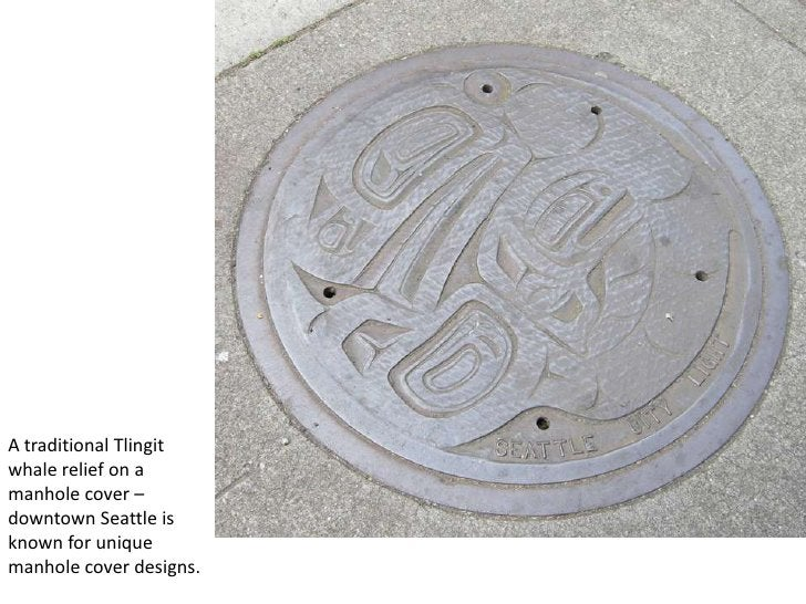 A traditional Tlingit whale relief on a manhole cover – downtown Seattle is known for unique manhole cover designs. <br />