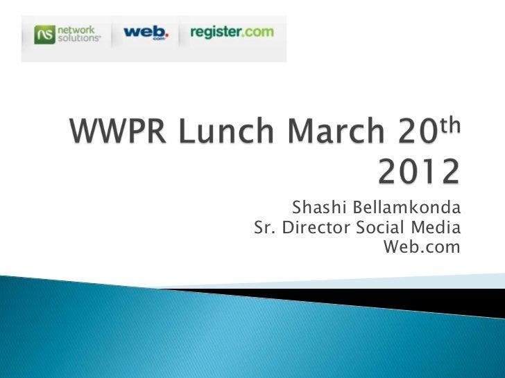 Shashi BellamkondaSr. Director Social Media                Web.com