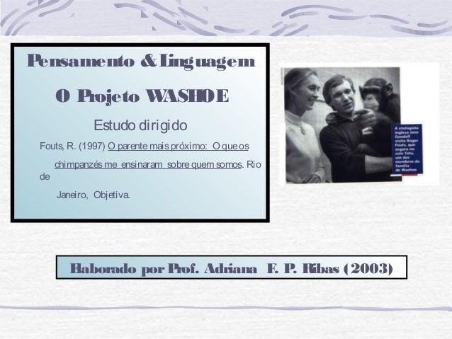 Pensamento & Linguagem      O Projeto WASHOE              Estudo dirigido Fouts, R. (1997) O parente mais próximo: O que o...