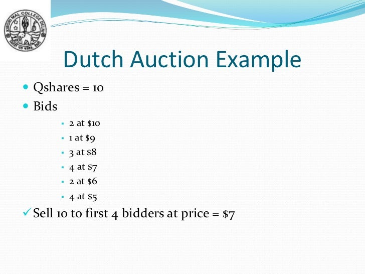 Dutch auction ipo offer price