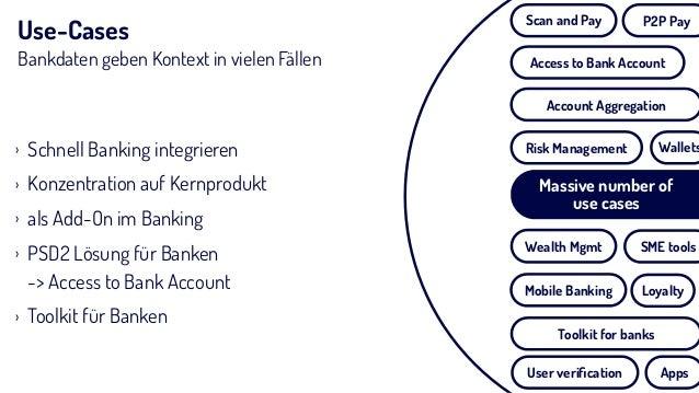 Use-Cases Bankdaten geben Kontext in vielen Fällen › Schnell Banking integrieren › Konzentration auf Kernprodukt › als Add...