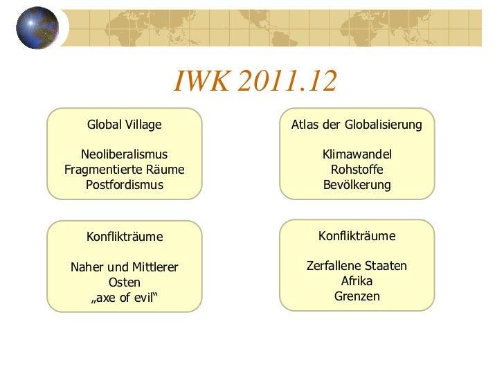 IWK 2011.12   Global Village          Atlas der Globalisierung   Neoliberalismus              KlimawandelFragmentierte Räu...