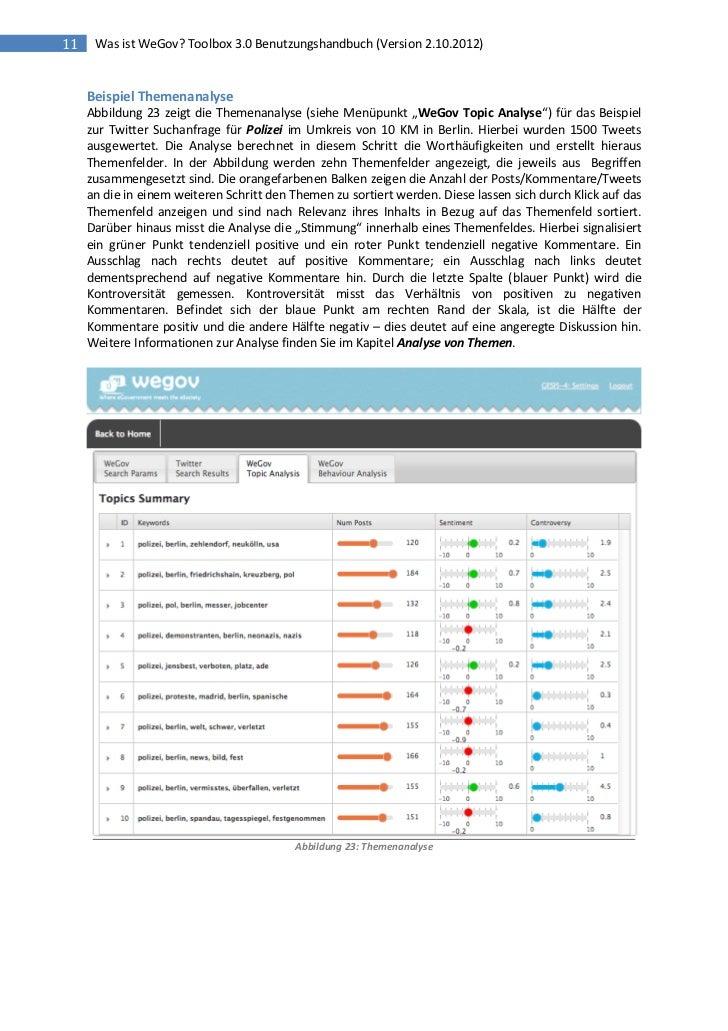 11    Was ist WeGov? Toolbox 3.0 Benutzungshandbuch (Version 2.10.2012)     Beispiel Themenanalyse     Abbildung 23 zeigt ...