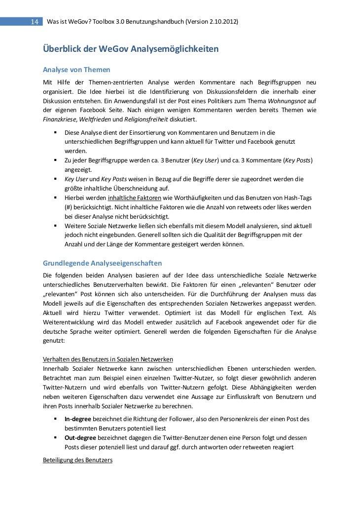14    Was ist WeGov? Toolbox 3.0 Benutzungshandbuch (Version 2.10.2012)     Überblick der WeGov Analysemöglichkeiten     A...