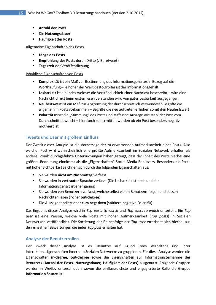15    Was ist WeGov? Toolbox 3.0 Benutzungshandbuch (Version 2.10.2012)            Anzahl der Posts            Die Nutzu...