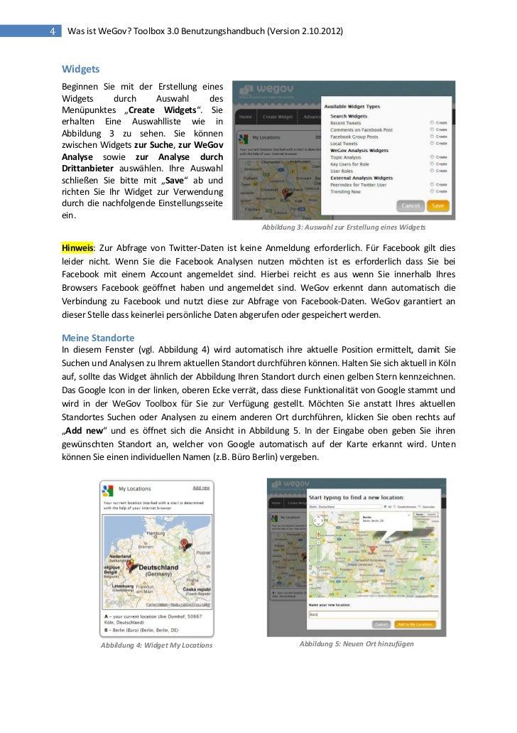 4    Was ist WeGov? Toolbox 3.0 Benutzungshandbuch (Version 2.10.2012)    Widgets    Beginnen Sie mit der Erstellung eines...