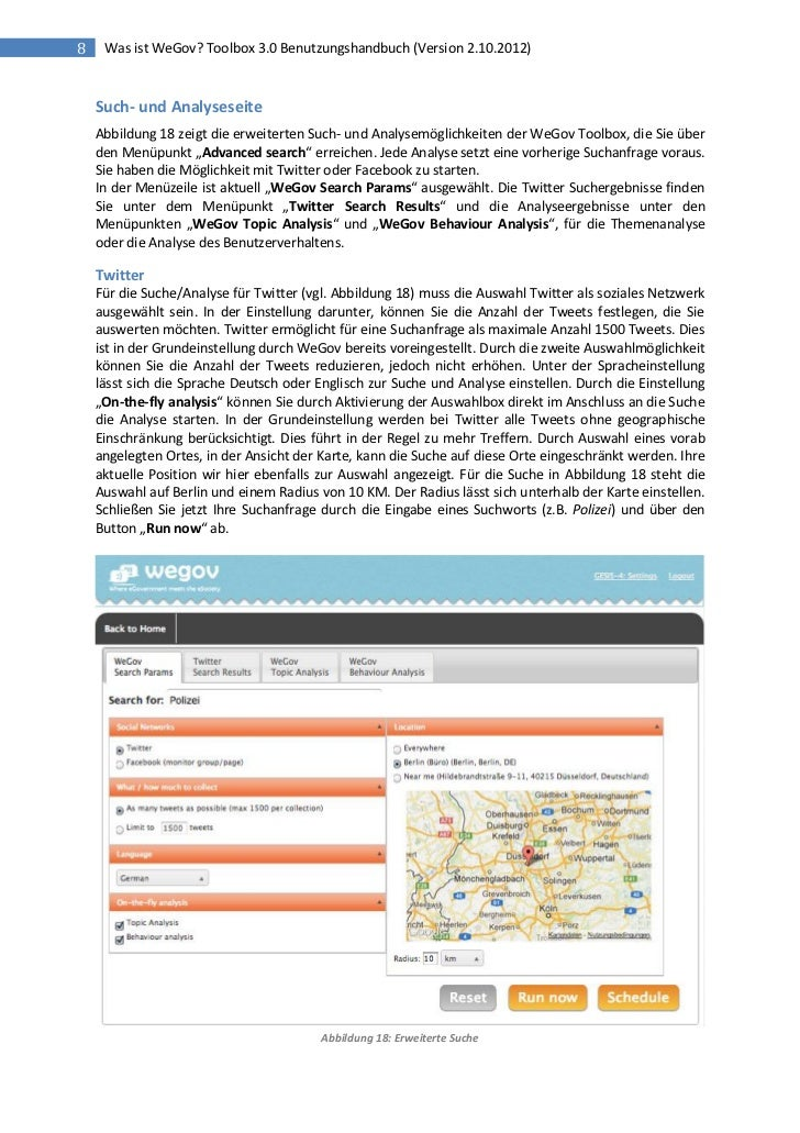 8    Was ist WeGov? Toolbox 3.0 Benutzungshandbuch (Version 2.10.2012)    Such- und Analyseseite    Abbildung 18 zeigt die...