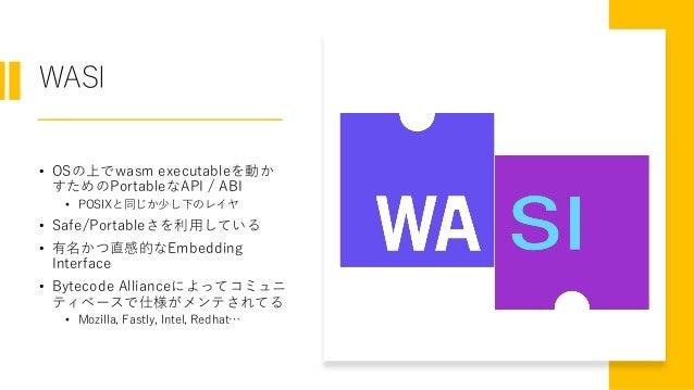 WASI • OSの上でwasm executableを動か すためのPortableなAPI / ABI • POSIXと同じか少し下のレイヤ • Safe/Portableさを利用している • 有名かつ直感的なEmbedding Inter...
