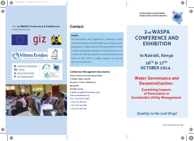 www.waspakenya.org Contact Conference Management Secretariat : Water services Providers Association P.O.BOX 25642 -00100 R...