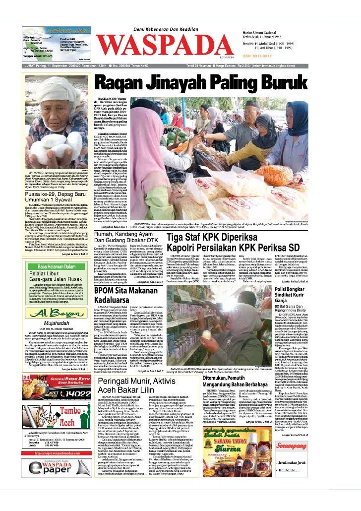 WASPADA  Jumat,  11 September 2009                                                                                        ...