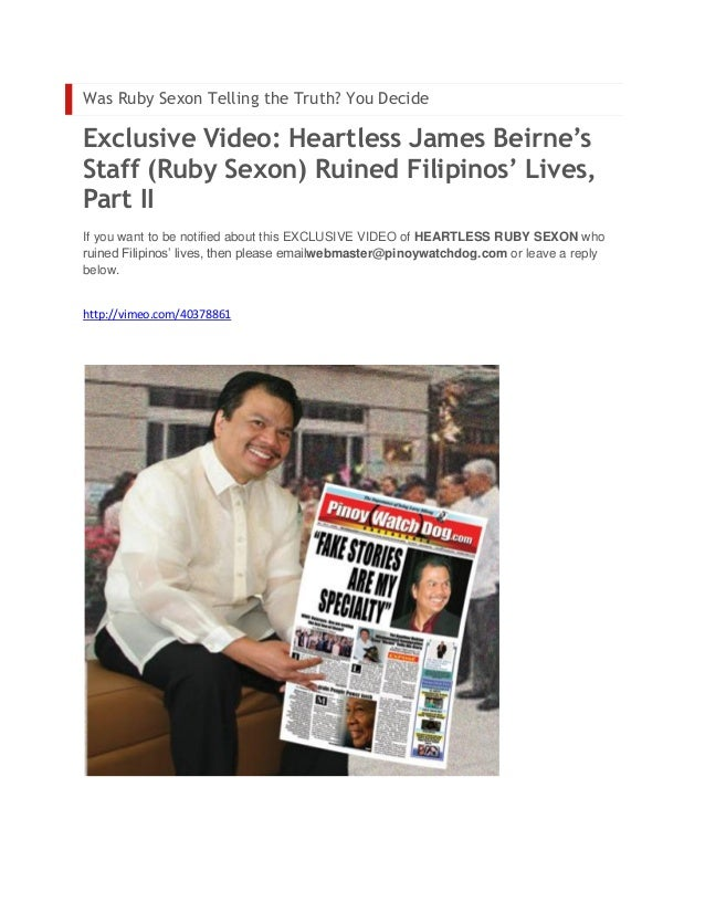 Was Ruby Sexon Telling the Truth? You DecideExclusive Video: Heartless James Beirne'sStaff (Ruby Sexon) Ruined Filipinos' ...