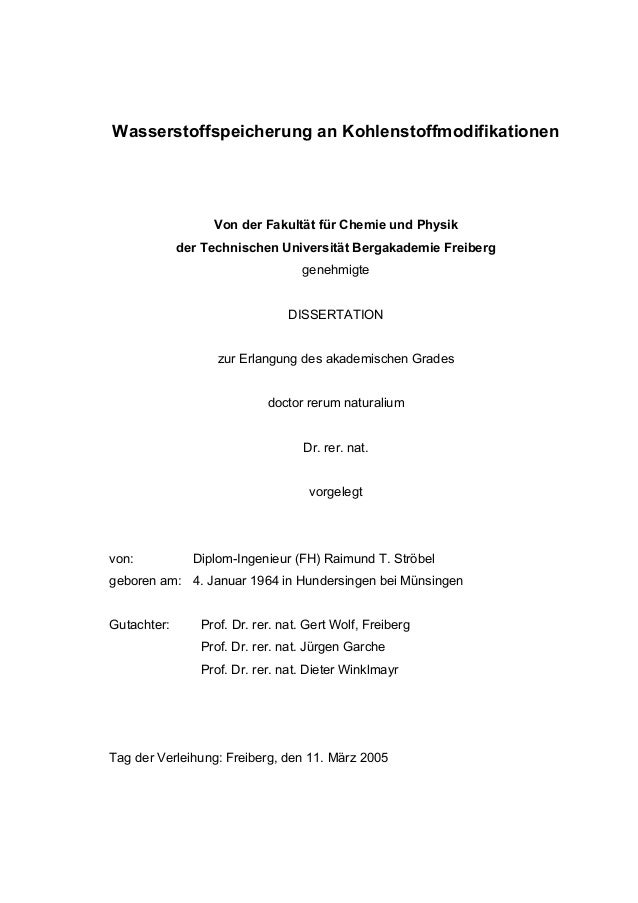 Wasserstoffspeicherung an Kohlenstoffmodifikationen Von der Fakultät für Chemie und Physik der Technischen Universität Ber...
