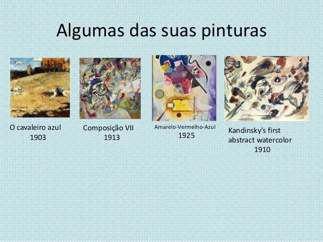 Algumas das suas pinturas O cavaleiro azul 1903 Composição VII 1913 Amarelo-Vermelho-Azul 1925 Kandinsky's first abstract ...