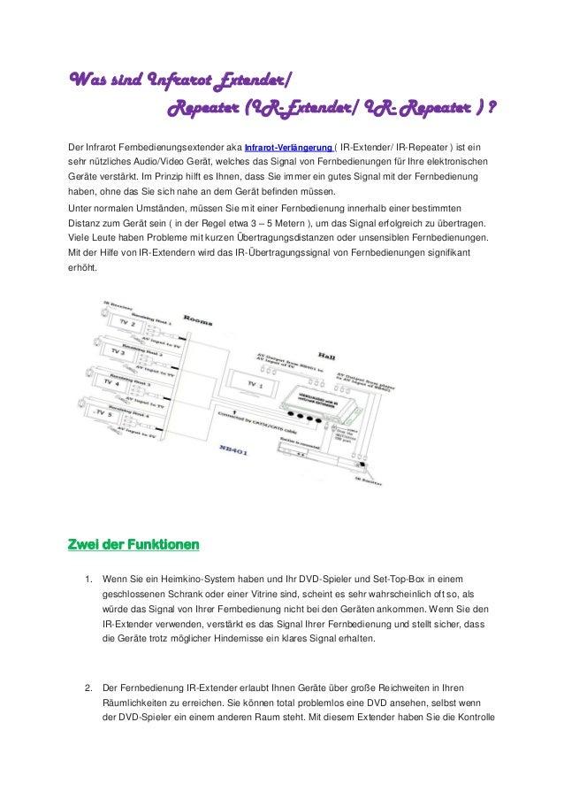 Was sind Infrarot Extender/ Repeater (IR-Extender/ IR- Repeater ) ? Der Infrarot Fernbedienungsextender aka Infrarot-Verlä...