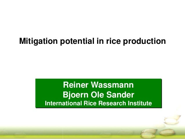 Mitigation potential in rice production  Reiner Wassmann  Bjoern Ole Sander  International Rice Research Institute