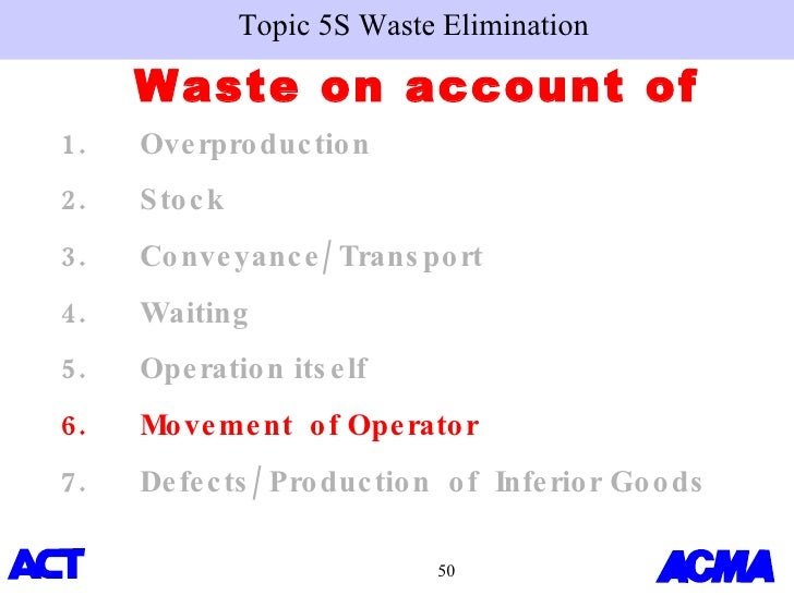 waste elimination One popular and well-known concept of the toyota production system is the  elimination of waste, in japanese also called muda (無駄.